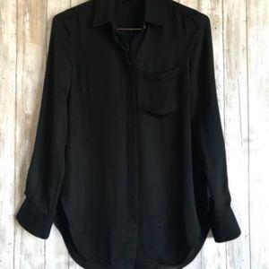 J Crew Blouse 00/XS Classic Silk Black Classic